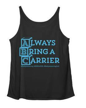 """black tank with ABC blocks and phrase """"always bring a carrier"""""""