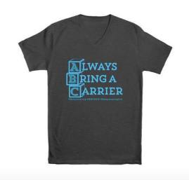 "charcoal v-neck with ABC blocks and phrase ""always bring a carrier"""