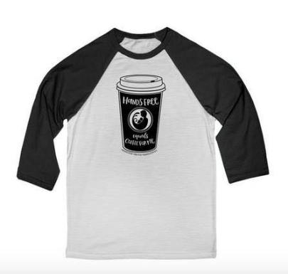 """baseball t-shirt with coffee cup image and phrase """"hands free equals coffee for me"""""""