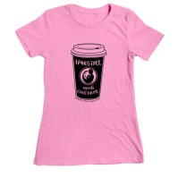 "Pink women's fit t-shirt with coffee cup image and phrase ""hands free equals coffee for me"""
