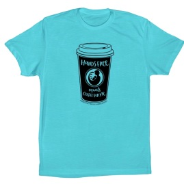 "Blue unisex baseball t-shirt with coffee cup image and phrase ""hands free equals coffee for me"""